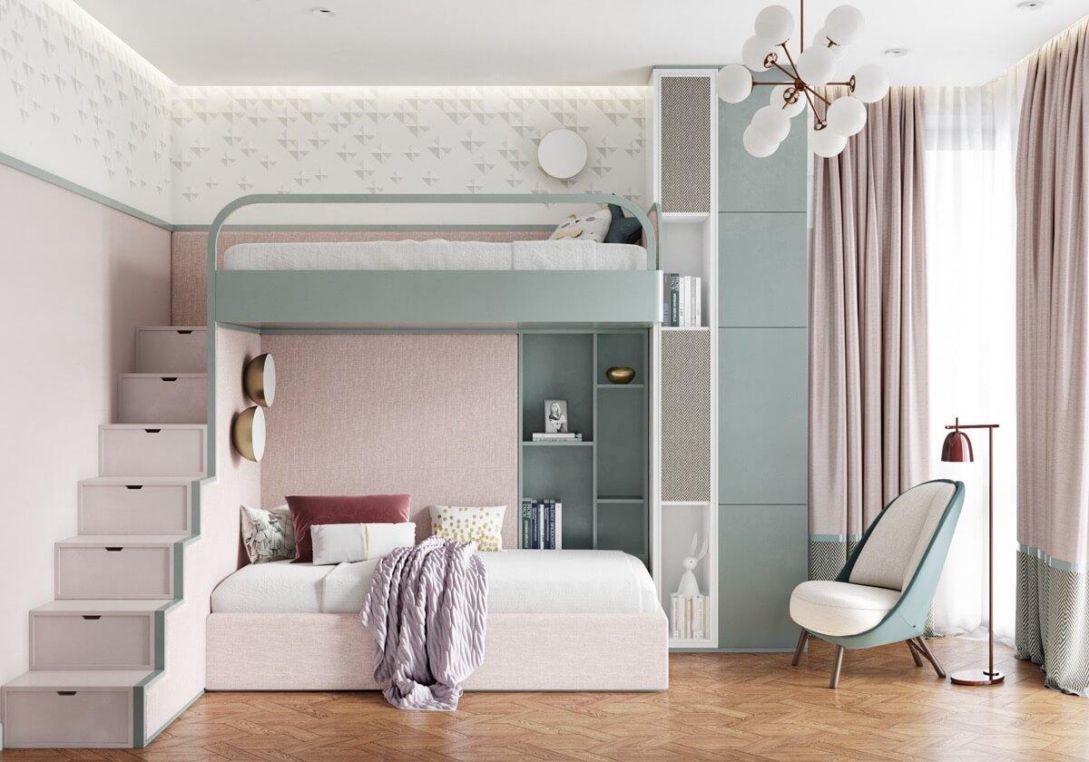thiết kế nội thất phòng ngủ màu hồng 42