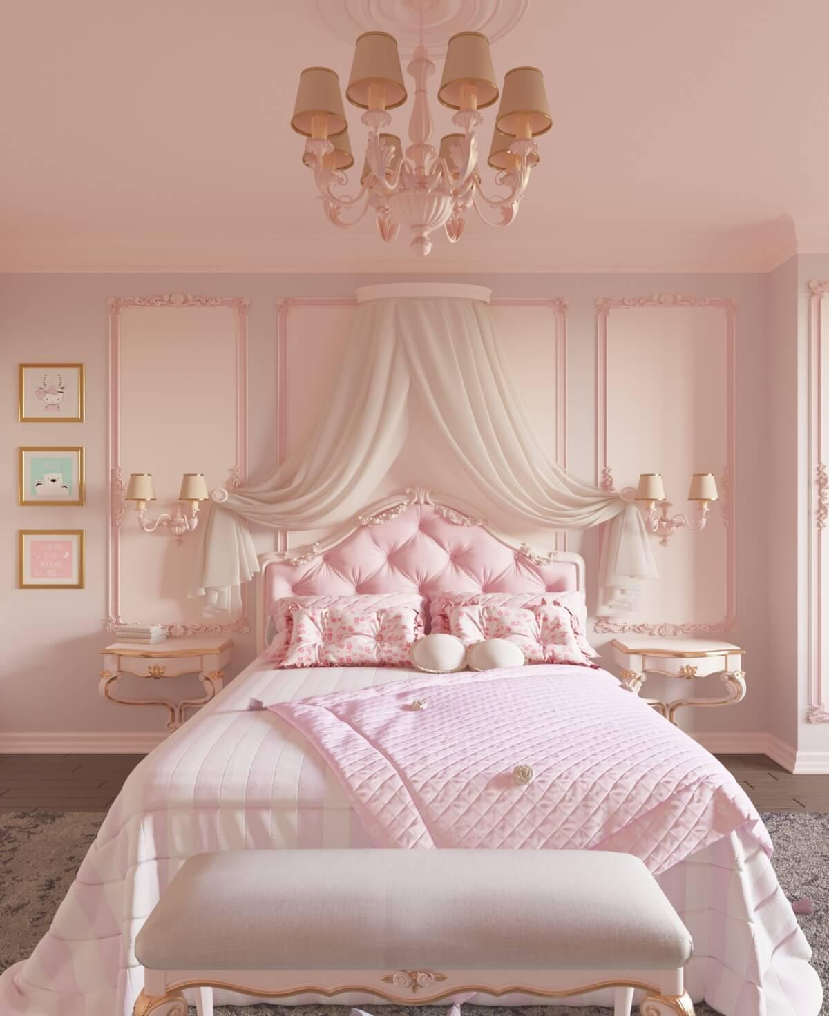 thiết kế nội thất phòng ngủ màu hồng 43