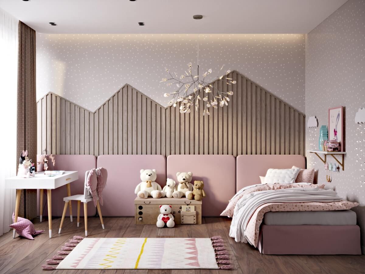 thiết kế nội thất phòng ngủ màu hồng 44