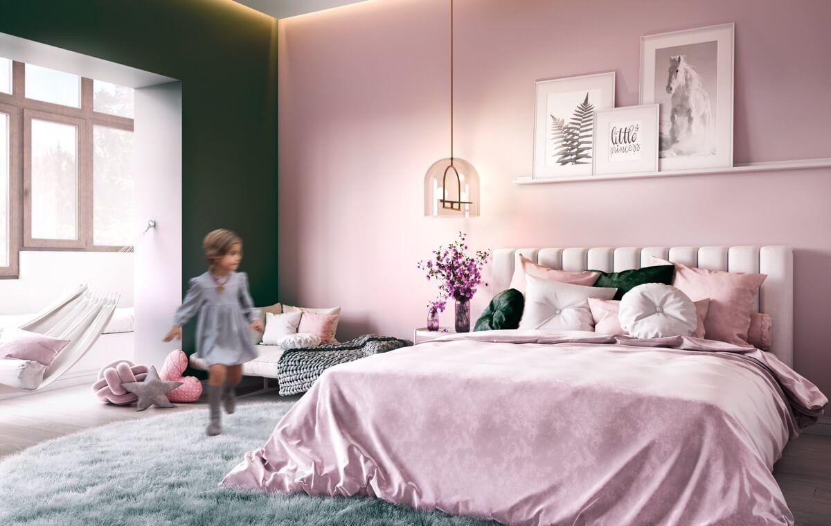 thiết kế nội thất phòng ngủ màu hồng 45