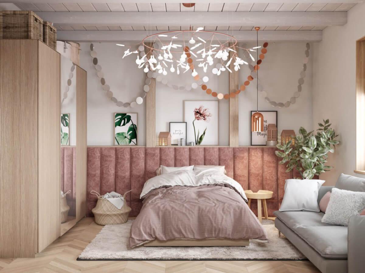 thiết kế nội thất phòng ngủ màu hồng 46