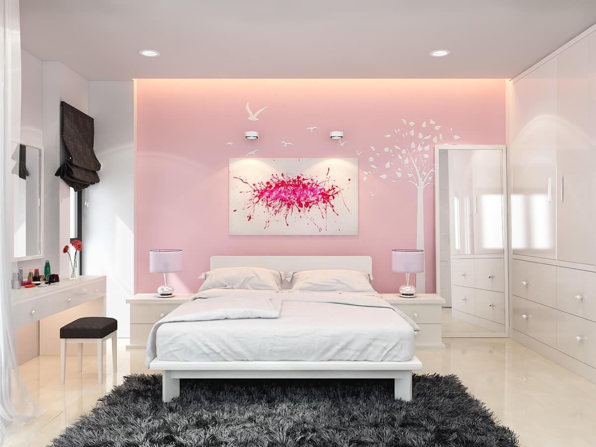 thiết kế nội thất phòng ngủ màu hồng 47