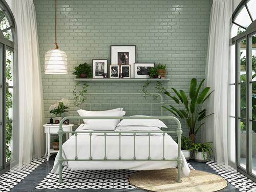 thiết kế phòng ngủ màu xanh