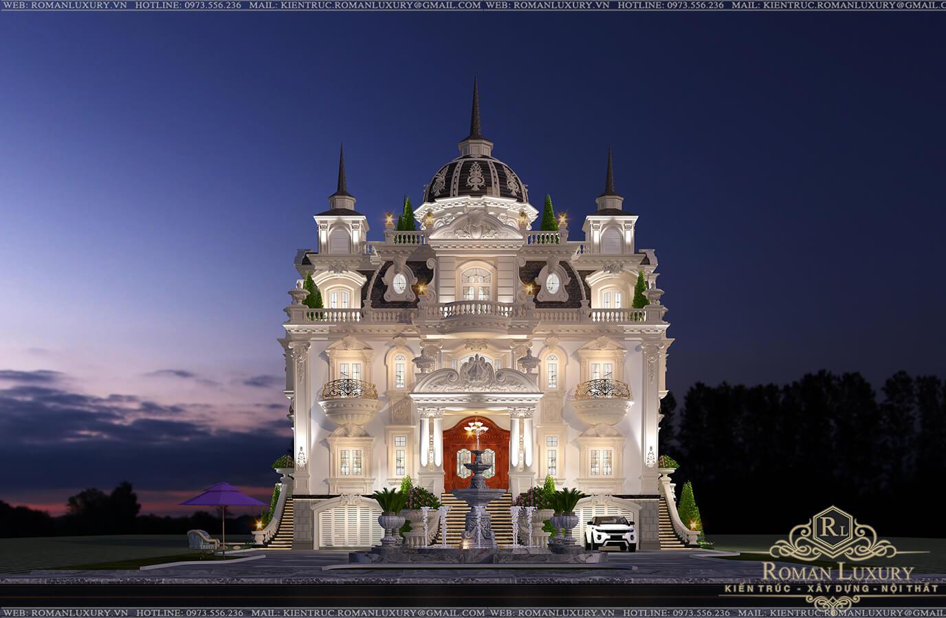 mặt tiền biệt thự lâu đài 3 tầng 1