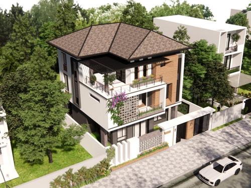 mẫu nhà biệt thự 3 tầng mái nhật đẹp