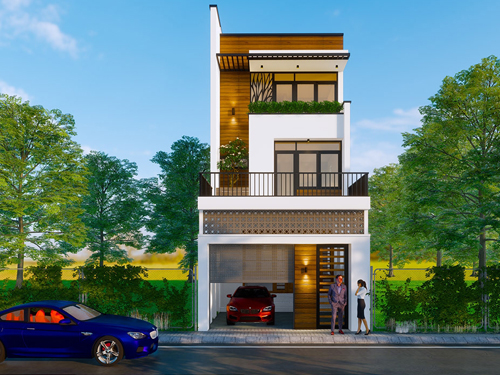 thiết kế nhà phố có chỗ để xe ô tô